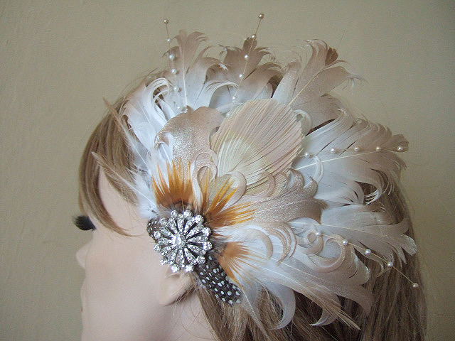 Ivory Gold Fascinator Of Curled Goose Nagoire And Peacock